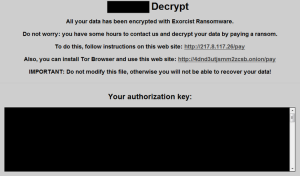 Exorcist ransomware note