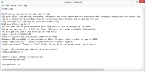 Nile ransomware note