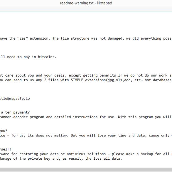 Remove ZES ransomware