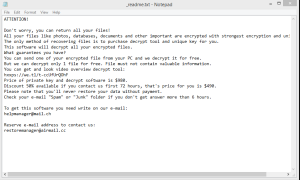 Kasp ransomware note