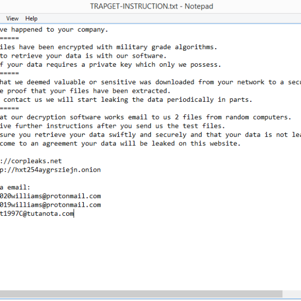 TRAPGET ransomware removal