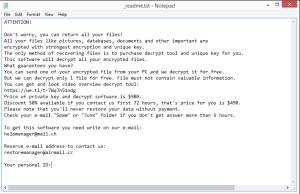 Efji ransomware ransom note
