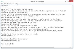 Epor ransomware note